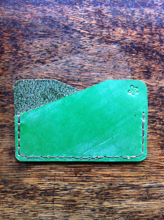Green leather pocket wallet