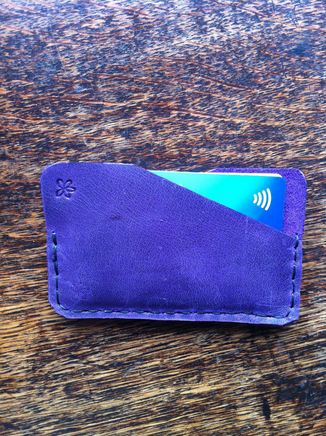 Purple handsewn Front pocket slimline wallet