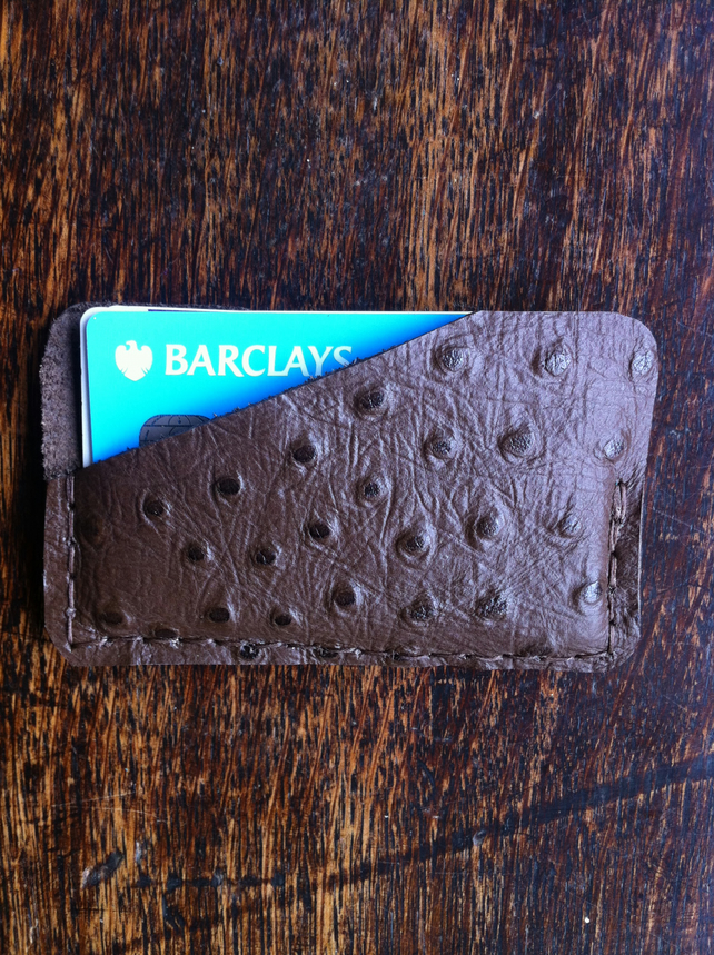 Ostrich print brown handsewn leather front pocket minimalist card wallet