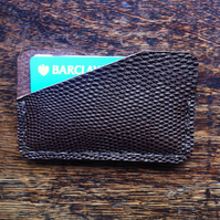 Slimline minimalist snake print leather front  pocket wallet