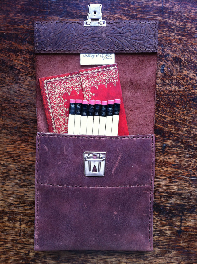 Slimline handsewn leather pencil case notebook case.
