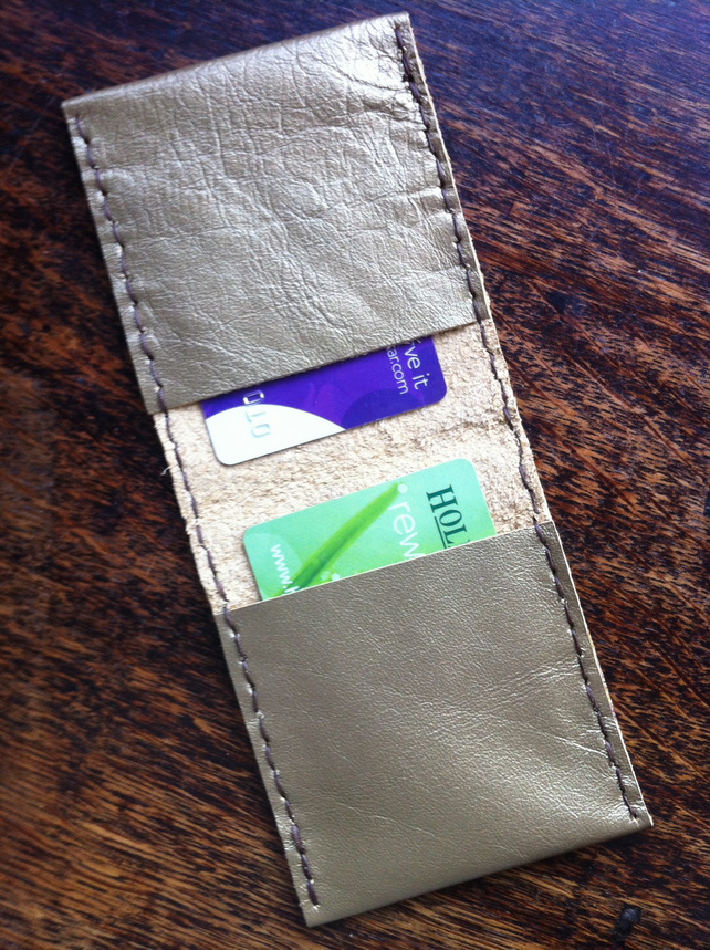 Gold slimline bifold leather wallet