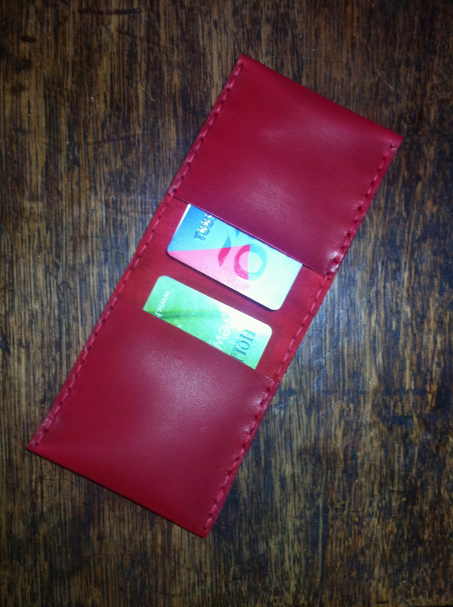 Bifold red leather handsewn wallet