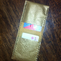 Gold leather handsewn bifold wallet