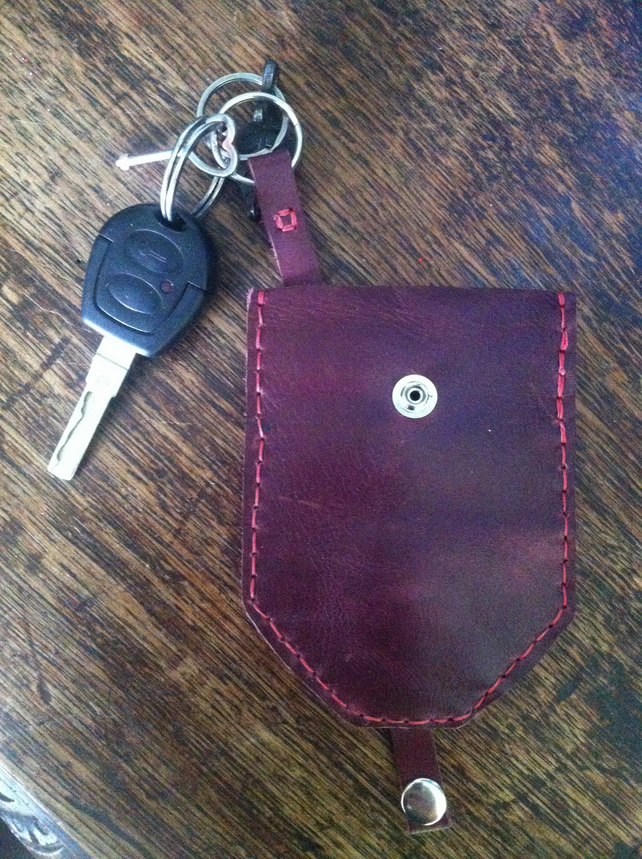 Key pouch pocket protector hand sewn red leather