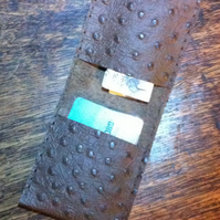 Bifold ostrich effect brown leather wallet