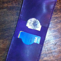 Slimline rich purple leather bifold wallet