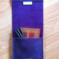 Purple slimline handsewn leather pencil case