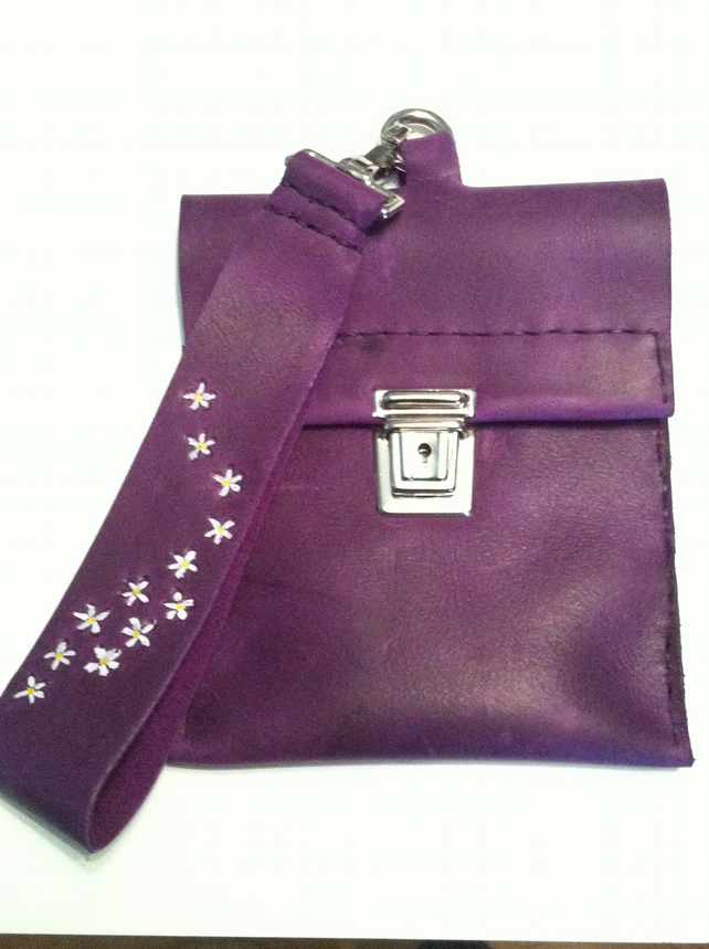 Rich royal purple handmade leather wristlet