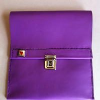 Purple slimline leather handmade pencil case