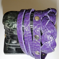 Purple plait and slash double wrap cuff