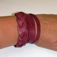 Plait and slash double wrap leather cuff
