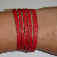Red leather slash cuff