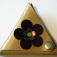 Gold triangle leather coin purse