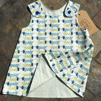 6-9 month Reversible Handmade cotton dress with dogs
