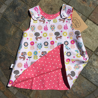 3-6 month Reversible Handmade cotton dress with forest animals and hearts