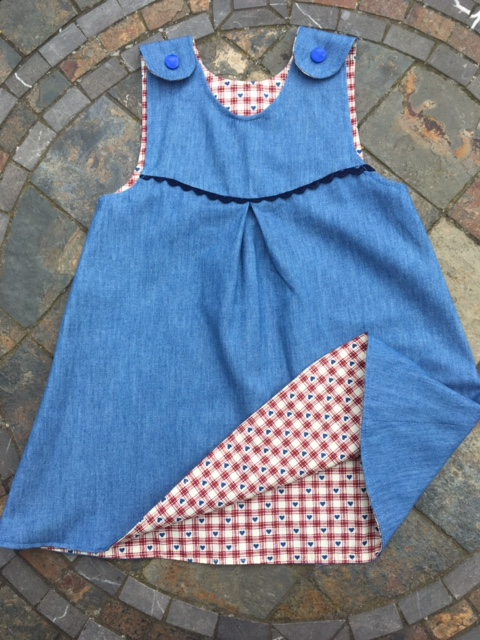 12-18 month Reversible Handmade cotton dress in denim and red check with hearts