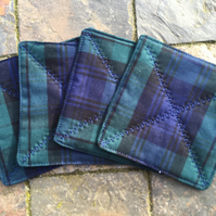 Blackwatch tartan quilted coasters (set of 4)