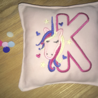 Letter K - Mini Unicorn monogrammed pocket cushion