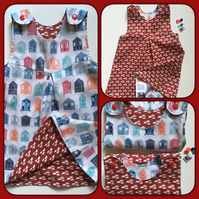Beach Huts and cloud themed reversible dress age 4 years