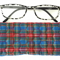 Soft Quilted glasses case - Blue and red Tartan