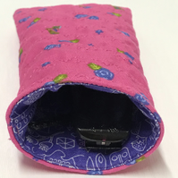 Soft Quilted glasses case - Pink with purple flowers