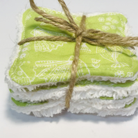 Reusable Face wipes - washablface cleansing pads in lime green sea themed fabric