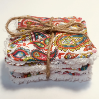 Face Scrubbies - reusable face wipes  in a colourful paisley pattern