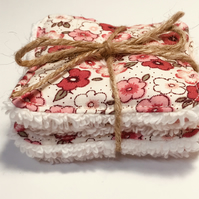 Face Scrubbies - reusable washable cotton face pads with fun pink floral pattern