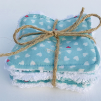 Reusable Face Wipes - washable face wipes.  Turquoise with mini hearts