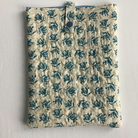 Blue and Cream Flower Quilted iPad Tablet Case