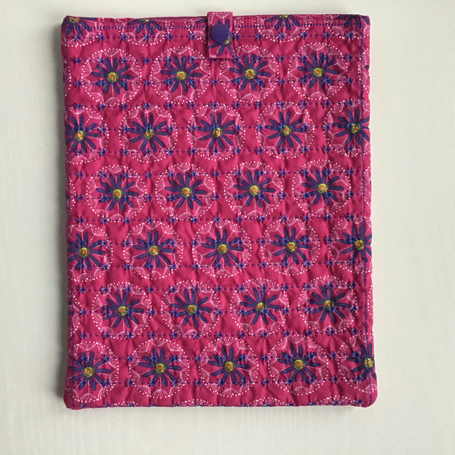 Pink and Purple Flower Quilted iPad Tablet Case