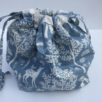 Cotton Drawstring Peg Bag with hanging tag - Blue and Cream Forest Themed