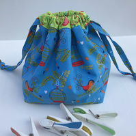 Cotton Drawstring Peg Bag with hanging tag - Blue and Green Bird and Bird Cages