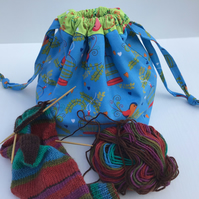 Sock Knitting or Crochet Drawstring Bag - Blue and Green Bird and Bird Cages