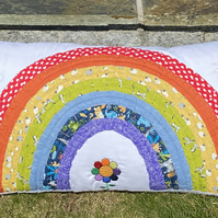 Quilted Rainbow Cushion cover - Made to order