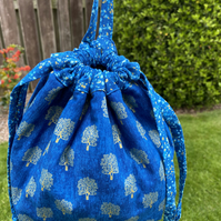 Blue with gold trees Cotton Drawstring Peg Bag with hanging Tab
