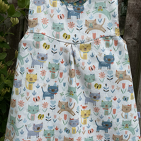 Kittens, Flowers and birds Reversible Dress - 6-9 months