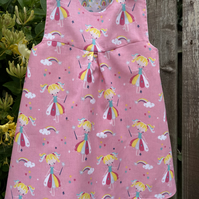 Pink Reversible Dress with Fairies, Rainbows and stars - 12-18 months