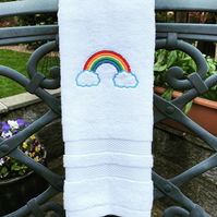 Embroidered Rainbow and Clouds hand towel
