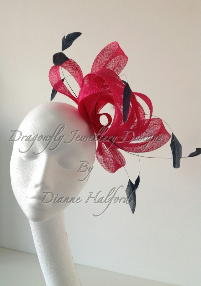 Fascinator Medium Pink And Navy On A Comb We Folksy