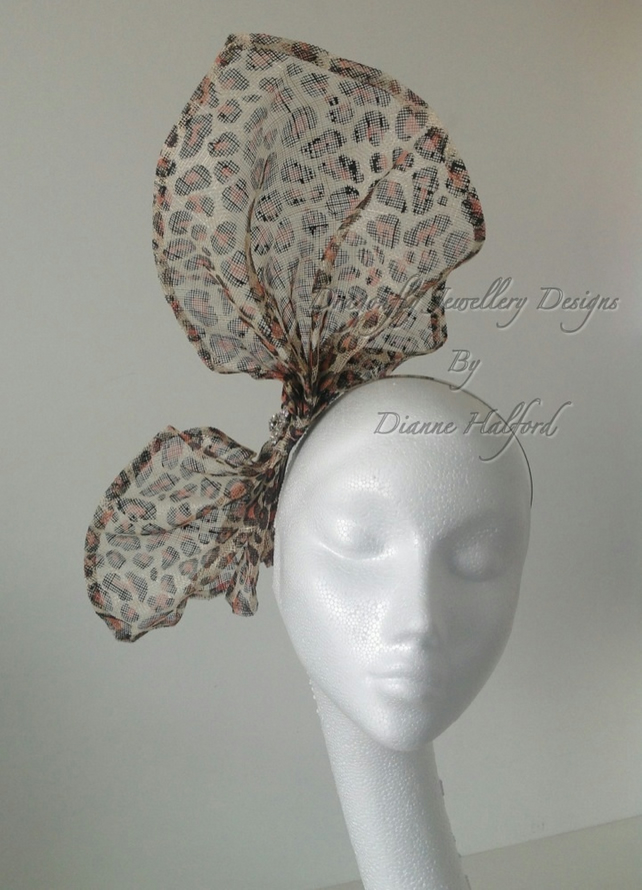 Medium Large Leopard Print Bow Fascinator Diama Folksy