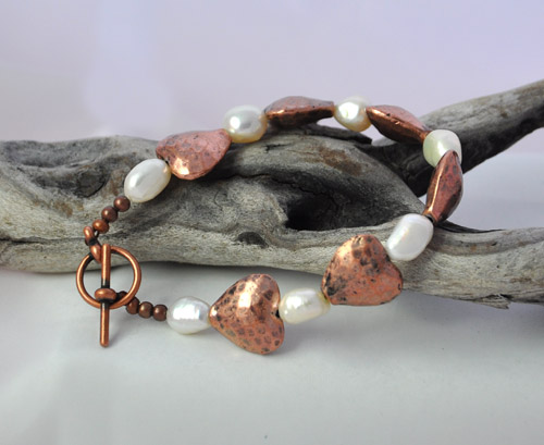 Copper Heart and Freshwater Pearl Bracelet