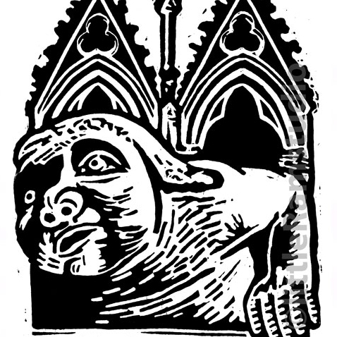 York Minster Grotesque No 2 - Original Hand Pulled Linocut Print