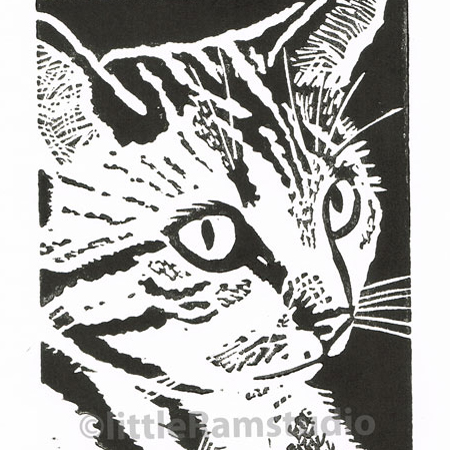Thoughtful Tabby Cat - Original Hand Pulled Linocut Print