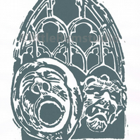 York Minster Grotesque No 3 - Original Hand Pulled Linocut Print
