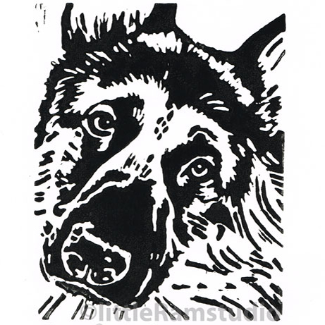 German Shepherd Dog - Original Hand Pulled Linocut Print