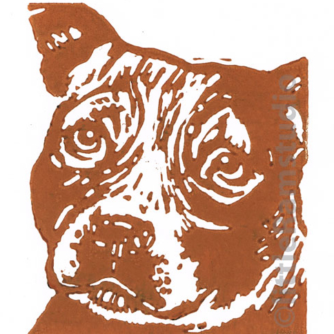 Staffie  Dog - Original Hand Pulled Linocut Print