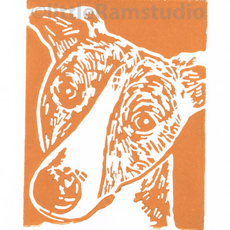 Brindle Whippet Dog - Original Hand Pulled Linocut Print
