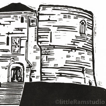 Cliffords Tower, York - Original Hand Pulled Linocut Print